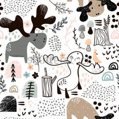 Quadro Padrão sem emenda infantil com alces em formas de madeira e abstratas. Fundo escandinavo na moda do vetor. Perfeito para vestuário de crianças, tecido, têxtil, decoração de berçário, papel de embrulho