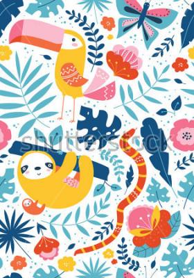 Quadro Padrão sem emenda tropical com cartões de fofos, tucano, preguiça, cobra, borboleta