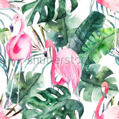 Quadro Padrão sem emenda tropical com flamingo e folhas. Impressão de verão em aquarela. Ilustração exótica mão desenhada