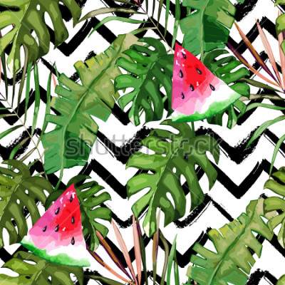 Quadro Padrão sem emenda tropical. Folhas de palmeira e melancia. Mão ilustrações desenhadas Fundo de verão. Estilo da aguarela