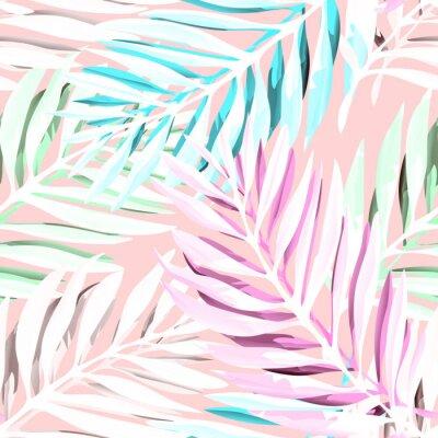 Quadro Padrão tropical de folhas de palmeira. Design de impressão na moda com folhagem de selva abstrata. Fundo exótico sem costura. Ilustração do vetor