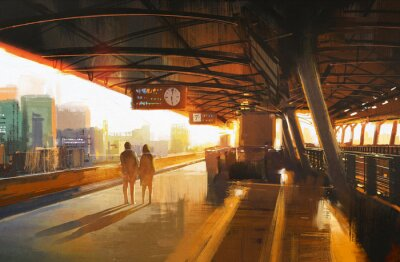 Quadro painting showing couple waiting a train on the station