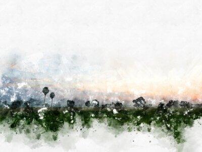 Quadro Paisagem colorida abstrata do campo no fundo da pintura da ilustração da aguarela.