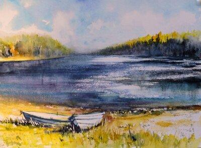 Quadro Paisagem com barcos de pesca na costa do lago. Imagem criada com aquarelas.