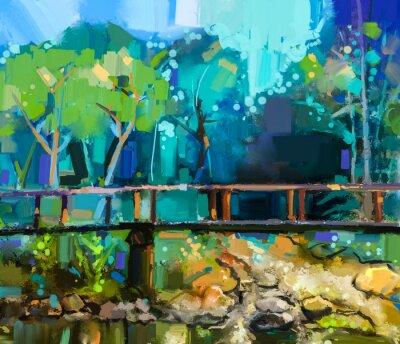 Quadro Paisagem da pintura a óleo com a ponte de madeira sobre a angra na floresta. Mão pintada Floresta colorida da natureza do verão com cor amarela e verde-azul