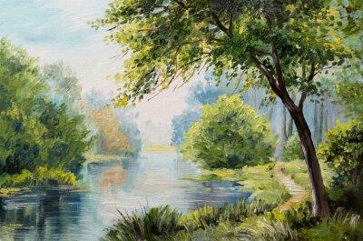 Quadro Paisagem da pintura a óleo - floresta colorida