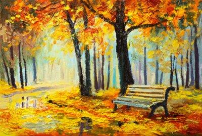 Quadro Paisagem da pintura a óleo - floresta colorida do outono