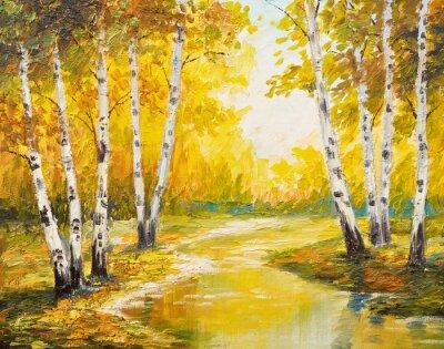 Quadro Paisagem da pintura a óleo - floresta do outono perto do rio, folhas alaranjadas