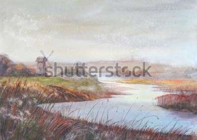 Quadro Paisagem da pintura da aguarela Rio e moinho de vento velho Ilustração tirada mão da aquarela.