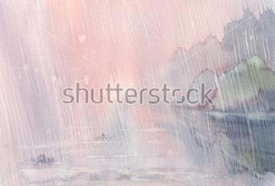 Quadro paisagem de aguarela de chuva de manhã