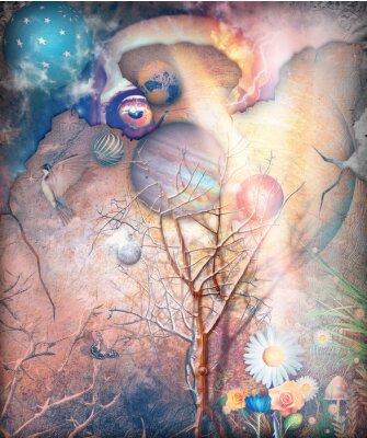 Quadro Paisagem de fantasia com árvore enfeitiçada