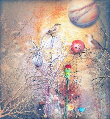 Quadro Paisagem de fantasia com árvore enfeitiçada, pássaros e cravo vermelho