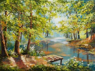 Quadro Paisagem de pintura a óleo - floresta de outono perto do rio, folhas de laranja