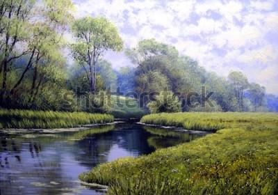 Quadro Paisagem de pintura a óleo, floresta de verão colorido, belo rio