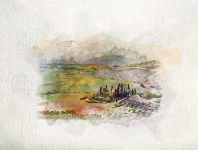 Quadro Paisagem de Toscana ao nascer do sol em aquarelas.