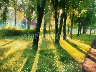 Quadro Paisagem de verão. As árvores no parque, uma sombra na grama. Aquarela Para impressão em cerâmica e tecido.