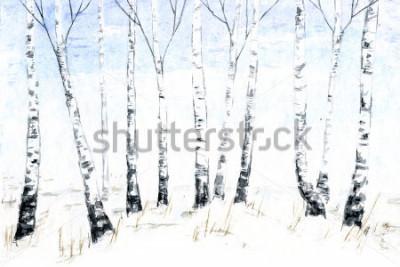 Quadro Paisagem do inverno em aquarela de mao desenhada. Ilustração de floresta, árvores de inverno. Bétula