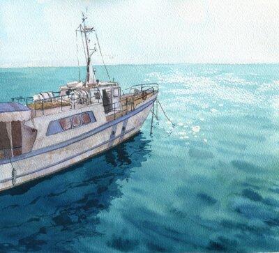 Quadro Paisagem do mar da aguarela com barcos