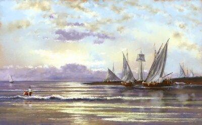 Quadro Paisagem do mar, pescadores, pinturas digitais de petróleo