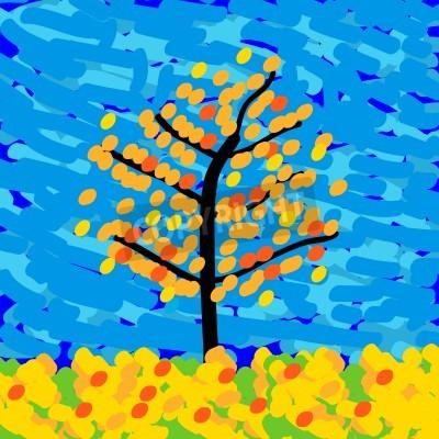 Quadro Paisagem do outono no estilo do impressionismo. Ilustração do vetor.