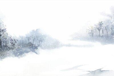 Quadro Paisagem do país das maravilhas do inverno pintada por aquarela