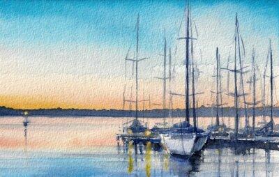Quadro Paisagem do verão com barcos à vela na baía.