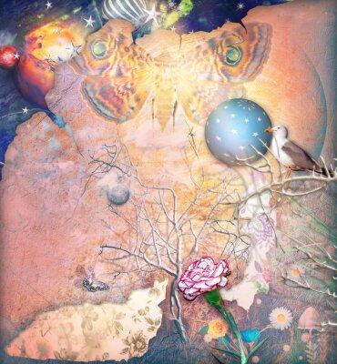 Quadro Paisagem encantada com árvore enfeitiçada, cravo e butterflye