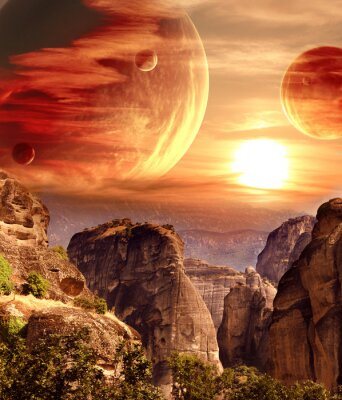 Quadro Paisagem fantástica com planeta, montanhas, pôr do sol