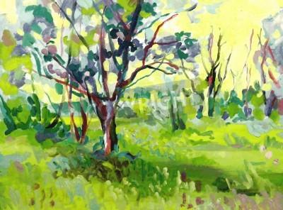 Quadro Paisagem pintura a óleo original com árvore