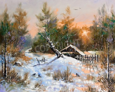 Quadro Paisagem rural do inverno