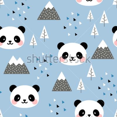 Quadro Panda sem costura de fundo, escandinavo Panda feliz fofo na floresta entre árvore de montanha e nuvem, Cartoon Panda Bears ilustração vetorial para crianças fundo nórdico com pontos de triângulo