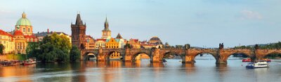 Quadro Panorama da ponte de Charles em Praga, República Checa