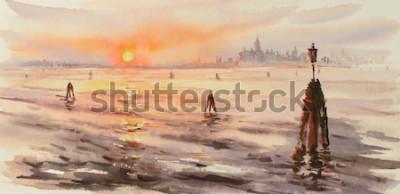 Quadro Panorama de Veneza laguna no por do sol. Imagem criada com aquarelas.
