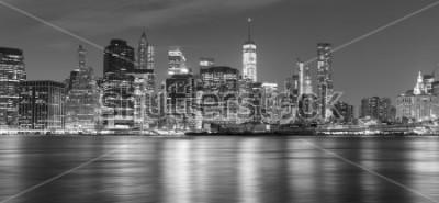 Quadro Panorama preto e branco de Nova York na noite, EUA.