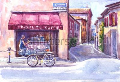 Quadro Panorama. Rua na cidade velha. Esboço em aquarela.