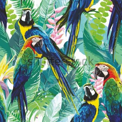 Quadro papagaios coloridos e flores exóticas