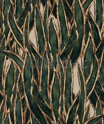 Quadro papel de parede de algas pintados à mão. padrão sem emenda de grama exótica. ilustração tropical para design têxtil e superfície