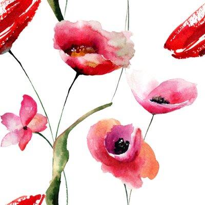 Quadro Papel de parede sem emenda com flores das papoilas