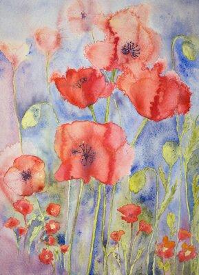 Quadro Papoilas em cores brilhantes alegres. A técnica dabbing dá um efeito de foco suave devido à rugosidade superficial alterada do papel.