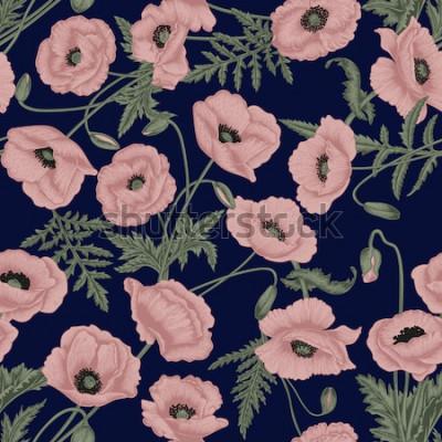 Quadro Papoulas Sem costura de fundo Vector em estilo vintage. Padrão de planta. Desenho botânico.