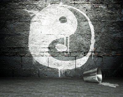 Quadro Parede Graffiti com yin yang, fundo da rua