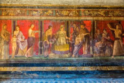 Quadro Parede pintada na cidade de Pompeii destruída em 79BC pela erupção do Monte Vesúvio