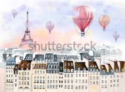 Quadro Paris com balão de ar quente