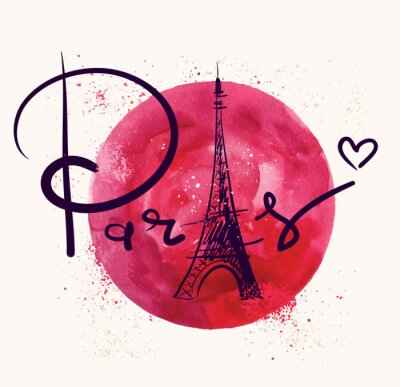Quadro Paris e círculo vermelho