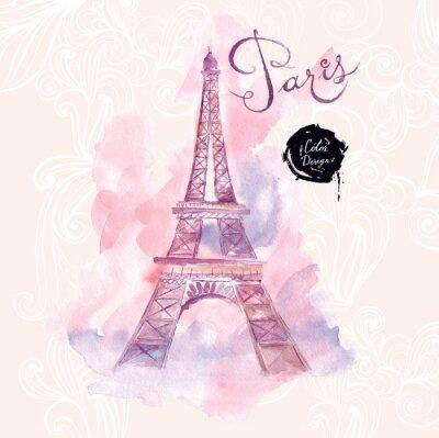 Quadro Paris. Vector a ilustração da aguarela