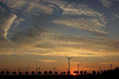 Quadro Parque eólico em construção no por do sol com Cirrocumuluswolken