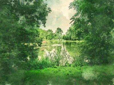 Quadro Parque verde e lago em Amsterdã. Aguarela. Estilo de pintura a óleo.