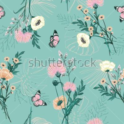 Quadro Pastel na moda de muitos tipos de flor de jardim, plantas, botânica, borboleta, design padrão sem emenda do vetor para a moda, tecido, papel de parede e todas as impressões na cor verde fundo de horte