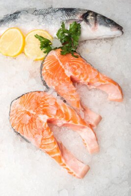 Quadro Peixe de cavala e salmão inteiro