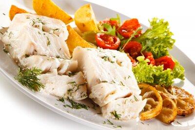 Quadro Peixe, prato, cozido, peixe, filete, assado, batatas, legumes